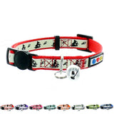 Red Glow In The Dark Cat Collar with Safety Buckle and Bell