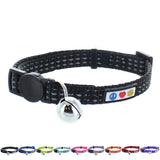 Reflective Cat Collar with Safety Buckle and Bell designed by Pawtitas black