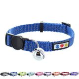 Reflective Cat Collar with Safety Buckle and Bell designed by Pawtitas blue