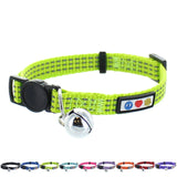 Reflective Cat Collar with Safety Buckle and Bell designed by Pawtitas green