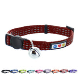 Reflective Cat Collar with Safety Buckle and Bell designed by Pawtitas marsala brown