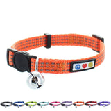 Reflective Cat Collar with Safety Buckle and Bell designed by Pawtitas orange