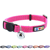 Reflective Cat Collar with Safety Buckle and Bell designed by Pawtitas pink