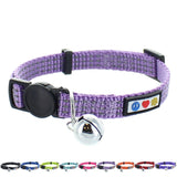 Reflective Cat Collar with Safety Buckle and Bell designed by Pawtitas orchid