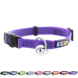 Reflective Cat Collar with Safety Buckle and Bell designed by Pawtitas purple