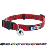 Reflective Cat Collar with Safety Buckle and Bell designed by Pawtitas red