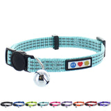 Reflective Cat Collar with Safety Buckle and Bell designed by Pawtitas teal