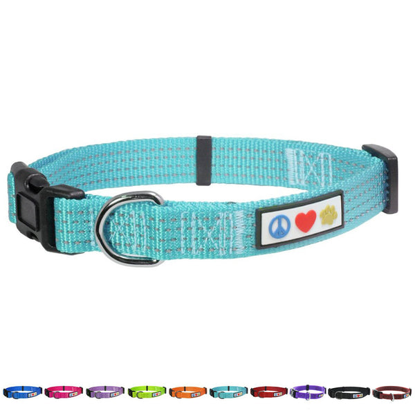 Adjustable Soft Training  Reflective Stitching Puppy / Dog Collar teal