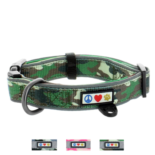 Soft Adjustable Reflective Padded Pet Dog Collar green Camouflage