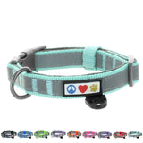 Reflective Padded Dog Collar Classic by Pawtitas teal