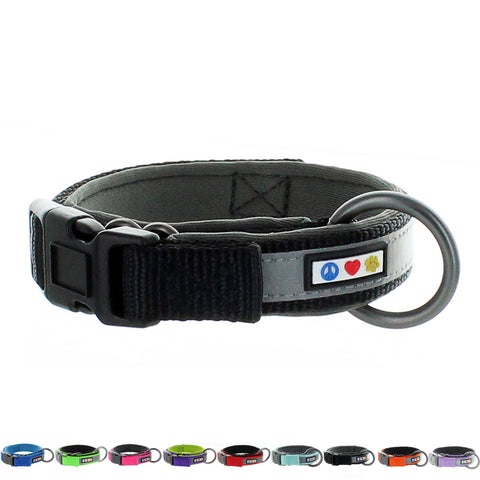 Black Pawtitas Pet Soft Adjustable Reflective Padded Dog Collar