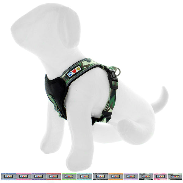 Pet Training Soft Adjustable Reflective Padded Puppy / Dog Harness green camouflage