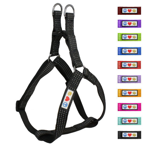 Soft Adjustable Step-In Reflective Puppy / Dog Harness designed by Pawtitas black