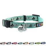 Teal Glow In The Dark Cat Collar with Safety Buckle and Bell