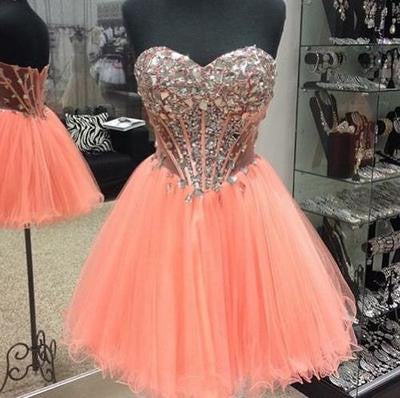 rhinestones Homecoming dress,Short prom Dress,pink Prom Dresses,dress for homecoming,BD603 - dream dress