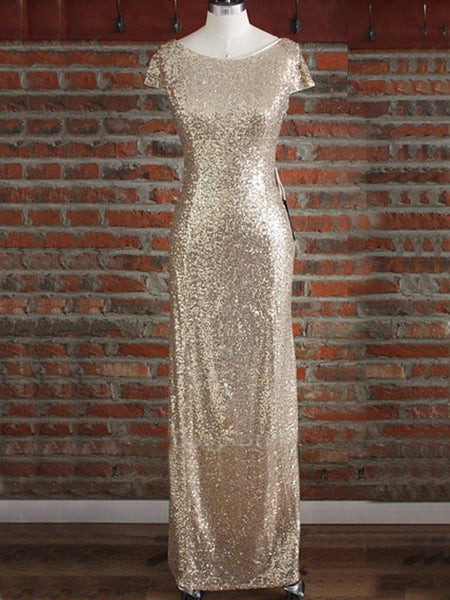 gold bridesmaid dress,Long bridesmaid dress,sequin bridesmaid dress,sparkle bridesmaid dress,BD822 - dream dress