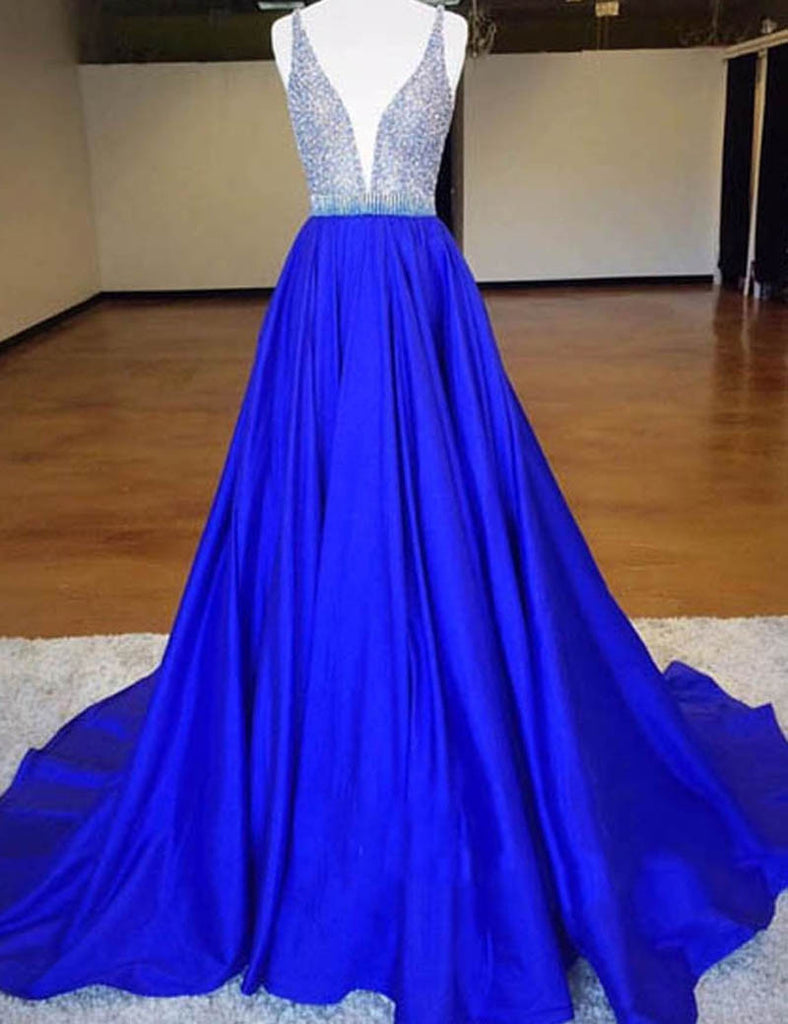 royal blue Prom Dresses,A-line Prom Dress,beaded prom dress,long Prom Dress,charming Prom Dress,BD2798 - dream dress