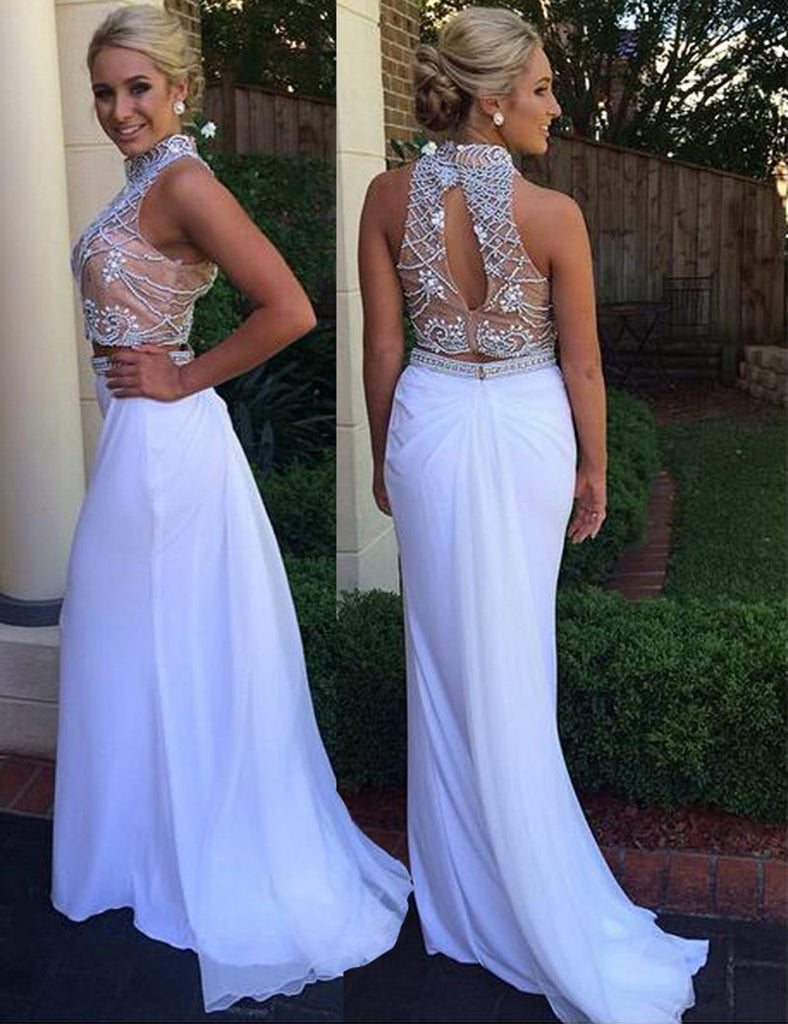 white prom dress,two pieces prom dress,beaded prom dress,charming prom dress,long evening gown,BD3776 - dream dress