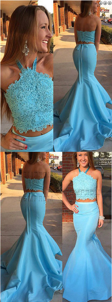 long prom dress,halter prom dress,mermaid prom dress,two pieces prom dress,lace up evening dress,BD3774