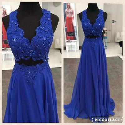 royal blue Prom Dresses,two pieces prom dress,long prom Dress,beaded prom dress,charming evening dress,BD2810 - dream dress