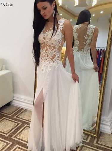 lace Prom Dresses,2017 Prom Dress,white prom Prom,slit Prom Dress,long Prom Dress,BD1101 - dream dress