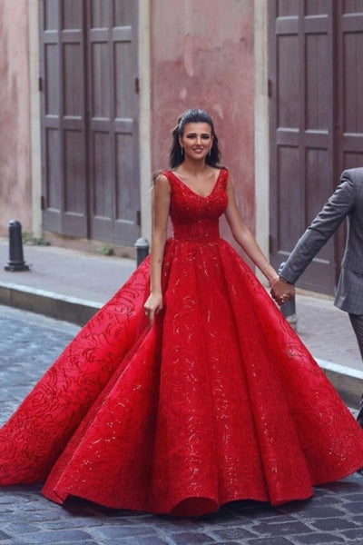 Glamorous Red V-Neck Sleeveless Prom Dress Ball Gown Party Dress,BD202102