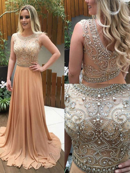 long chiffon beaded chiffon prom dress,2017 evening dress,BD2981 - dream dress