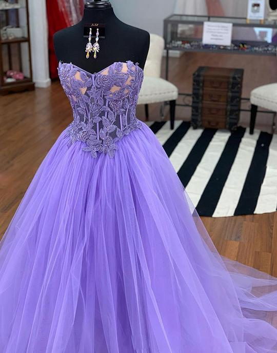 Purple tulle lace long prom dresses, purple evening dresses,PD3612
