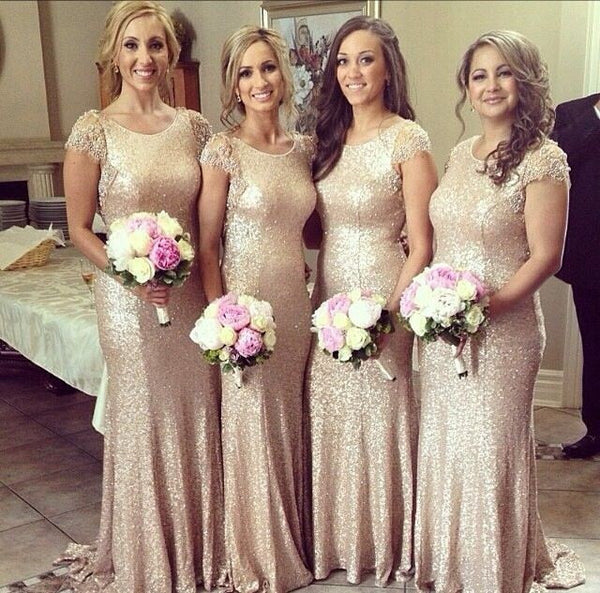 Sequin bridesmaid dress,long bridesmaid dress,glittery bridesmaid dress,cap sleeves bridesmaid dress,BD029 - dream dress