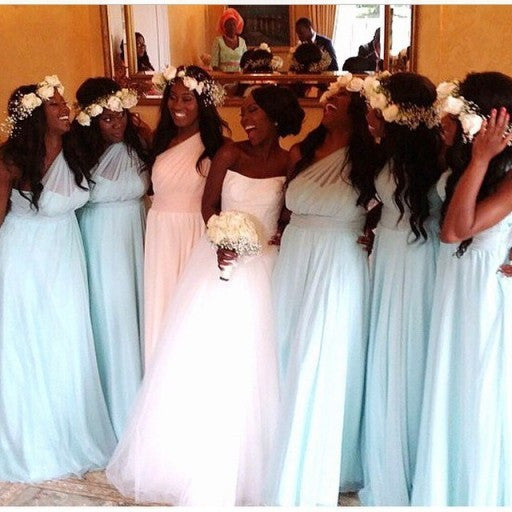 light blue bridesmaid dress,long bridesmaid dress,cheap bridesmaid dress,one shoulder bridesmaid dress,BD3573 - dream dress