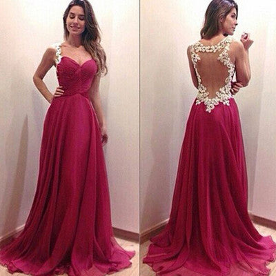 hot pink Prom Dresses,charming prom dress,long prom Dress,see through back prom dress,BD0395 - dream dress