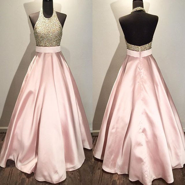 A-line long halter beaded prom dress,pink evening dress,BD3771 - dream dress