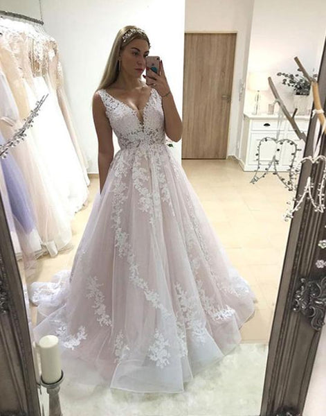 pink v neck tulle lace long prom dresses, pink evening dresses,PD3617
