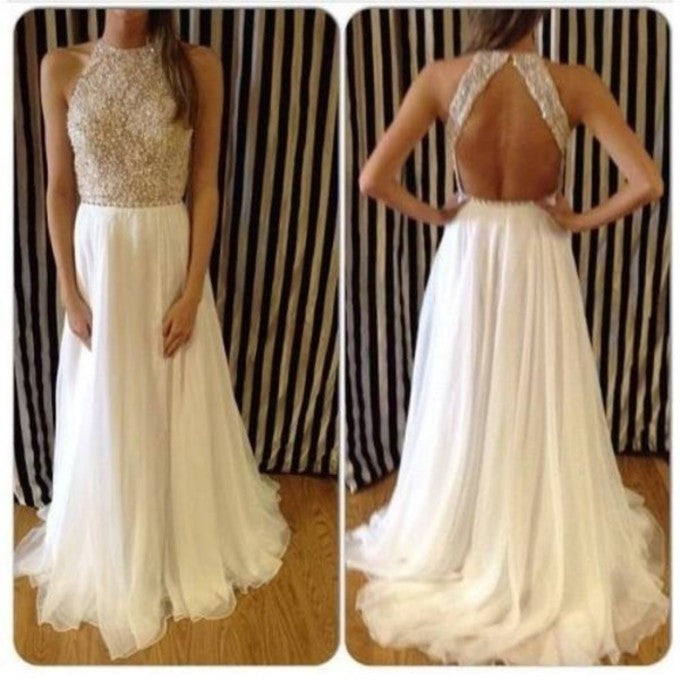 backless long white chiffon prom dress,beaded evening gown,BD915 - dream dress