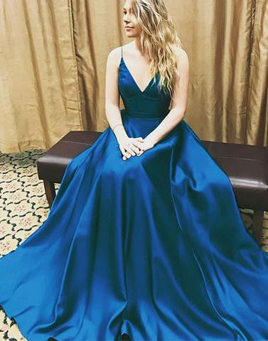 v neck blue formal A-line prom dress,simple evening gown,BD172603