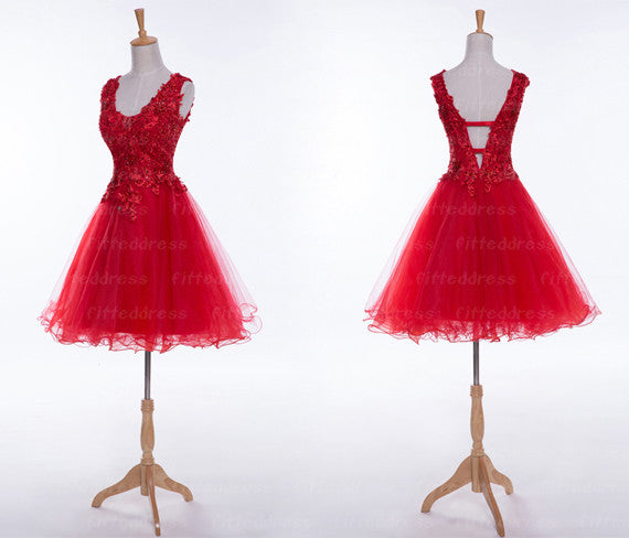 short Homecoming dress,red prom Dress,lace Prom Dresses,charming prom dress,party dress,BD401