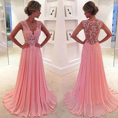 Pink Prom Dresses,Lace Prom Dress,See through Prom Dress,2017 Prom Dress,dresses for prom,BD087 - dream dress