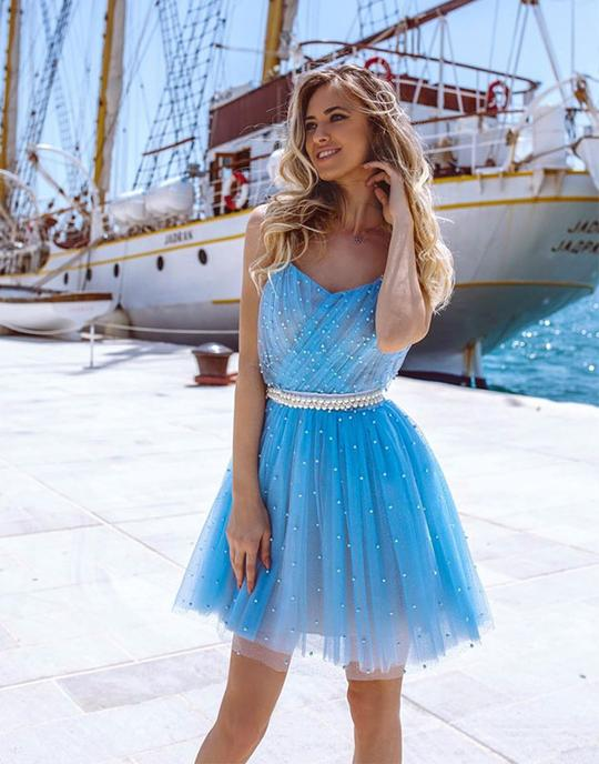 Cute blue short prom dresses, blue tulle homecoming dresses,PD3778