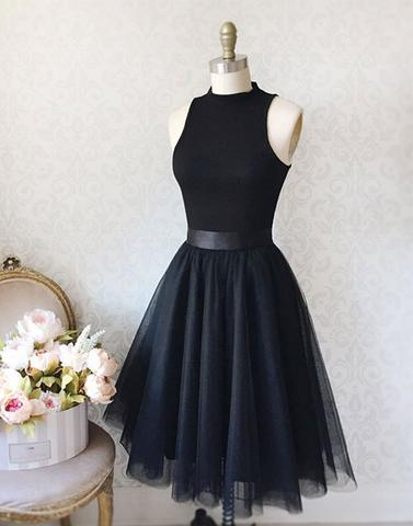 5f369a57064 2018 Simple black tulle short prom dress