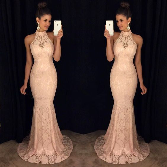 light pink prom dress, long prom dress, lace prom dress, mermaid prom dress, high neck evening dress, BD477 - dream dress