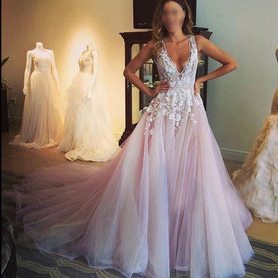 Pink Prom Dress, A-line Prom Dress, Lace Prom Dress, Long Prom Dress, 2017 Prom Dress, BD073 - dream dress