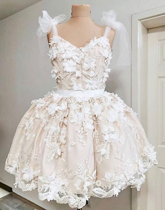 Cute tulle lace applique short prom dresses, homecoming dresses,PD3777
