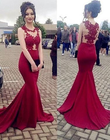 burgundy round neck lace mermaid prom dresses,long evening dress,BD17261