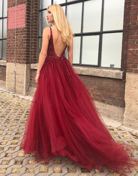 Burgundy v neck tulle beads long prom dresses, burgundy evening dresses,PD3636