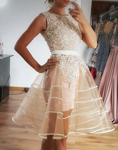 Champagne tulle lace short prom dresses, champagne evening dresses,PD3658