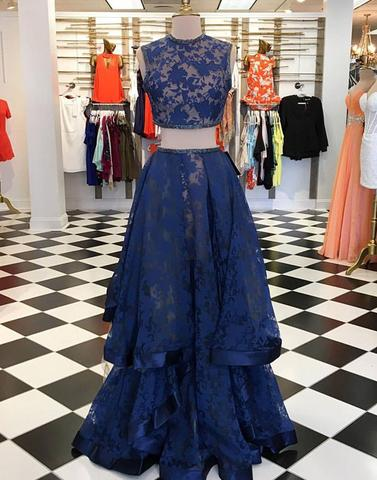 Dark blue lace two pieces long prom dresses, dark blue evening dresses,PD23010