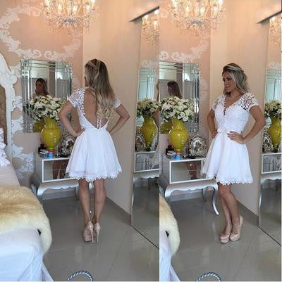 Short prom Dress,Charming Prom Dresses,White prom Dress,Lace homecoming dress,Party dress for girls,BD055 - dream dress