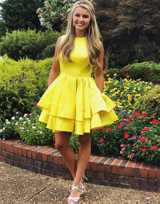 Simple yellow short prom dresses, yellow homecoming dresses,PD3659
