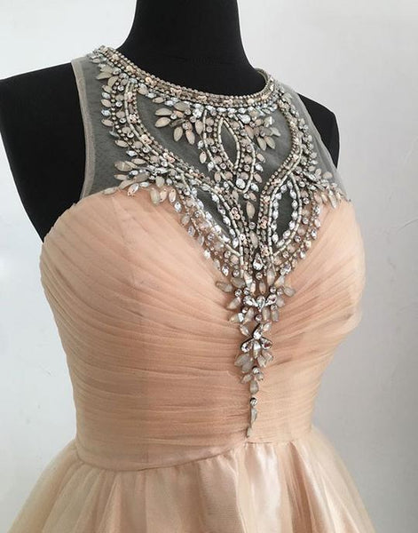 Champagne tulle short prom dresses, cute homecoming dresses,PD3618