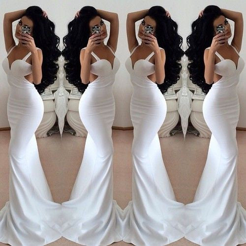 white prom dress,backless Prom Dress,long prom dress,sexy prom dress,evening dress,BD1360 - dream dress